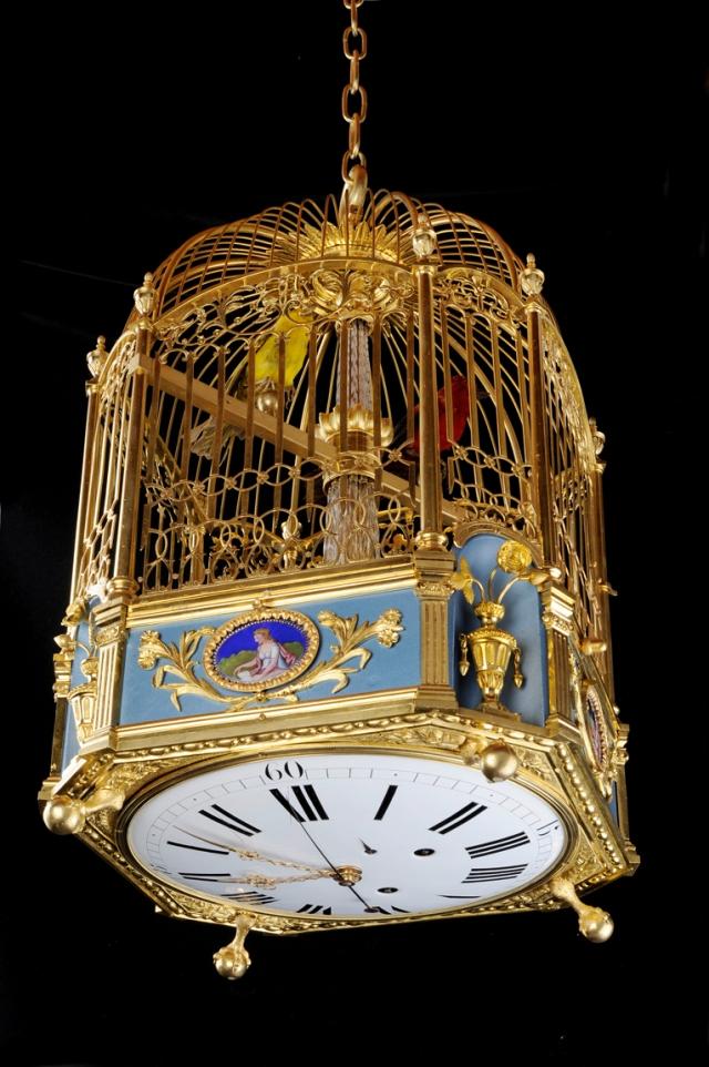 Cage à 2 oiseaux chanteurs avec fontaine et jeu de flûtes
