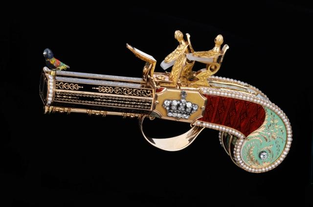 Pistolet à canon double, à oiseau chanteur